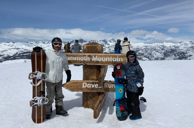 Wes and his kids snowboarding.